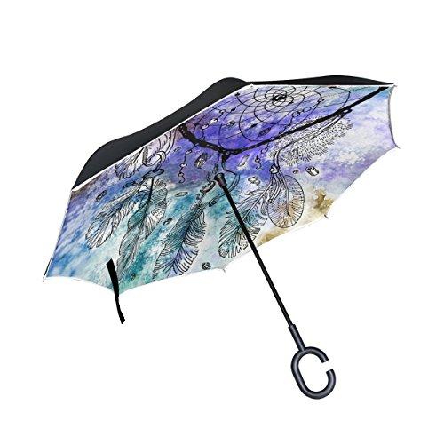 jstel doble capa invertida Atrapasueños en la acuarela paraguas coches Reverse resistente al viento lluvia paraguas para coche al aire libre con asa en forma de C