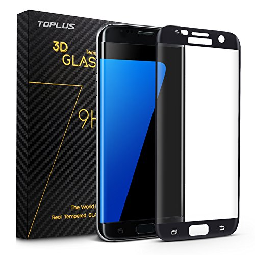 TOPLUS Samsung Galaxy S7 Edge Tempered Glass Screen Protector,Ultra Thin 0.26mm Scratch Resistant, Full Coverage, Ultra HD Clear, Anti-Scratch, Bubble Free, Includes Microfiber Cloth, Alcohol prep pad (Black) Test