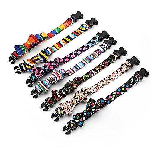 Amakunft Langlebig Dog Basic Halsband Anpassen, mit Schleife, Bunte Muster Namen und Telefonnummer Bestickt Pet Halsband, Personalisierbar, Hund ID Halsband für Hunde