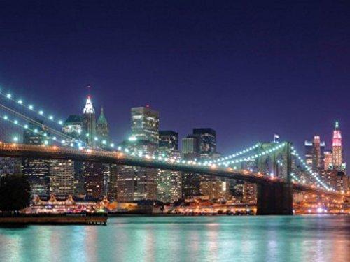 New York Papier Peint Photo/Poster - Panorama Nocturne Du Pont De Brooklyn, 2 Parties (240 x 180 cm)