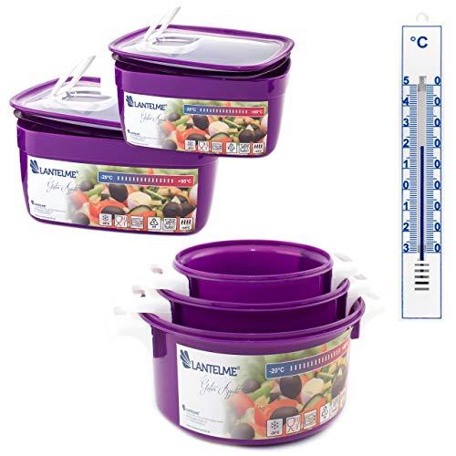 Lantelme Mikrowelle Schüssel Küchen Thermometer Set 6 teilig Kunststoff Mikrowellenschüssel Küchenhelfer violett weiß 4505