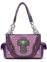 Cowgirl Trendy Western Handbag - Turquoise Stone Cross Embossed Concealed Carry Shoulder Bag