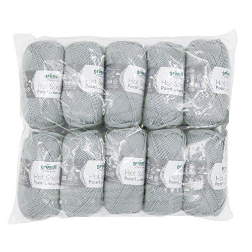Gründl 3409-02 Hot Socks Pearl Uni, Avantage Pack de 10 à Tricoter 50 g de Laine pour Chaussettes, 75% Laine (Mérinos Superwash), 20% Polyamide, 5% Cachemire, Gris argenté, 40 x 37 x 11 cm