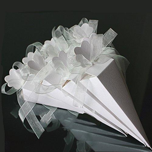 Tomkity 100 Pezzi Portariso Portaconfetti in Cartoncino Cono Coni con Effetto Seta Bianca a Rilievo (Nastro Organza Compreso) (100 Coni Bianco)