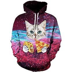 OYABEAUTYE Hombre Unisex Sudaderas con capucha Impreso Arte Suéter Cuello Redondo de Mangas Largas con varios estilos (Small / Medium, Pizza de gato)