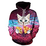 AMOMA Jungen Digitaldruck Kapuzenpullover Tops Fashion Hoodie Pullover Hooded Sweatshirt (Small/Medium, Pizza Cat)