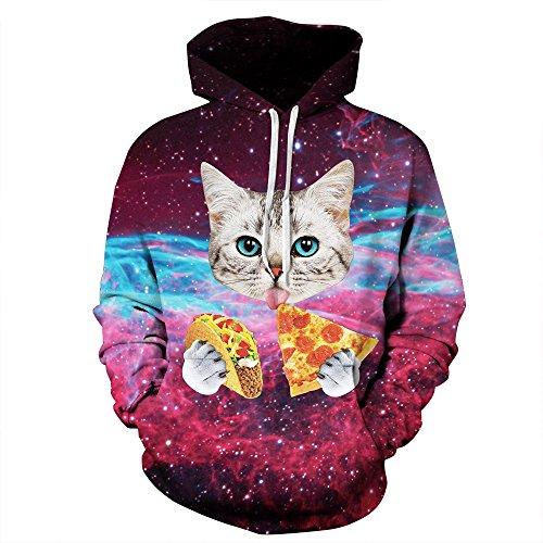 AMOMA Unisex Slim Fit 3D Digital Bedruckte Sweatshirt Kapuzenpullover Hoodies Pizza Cat