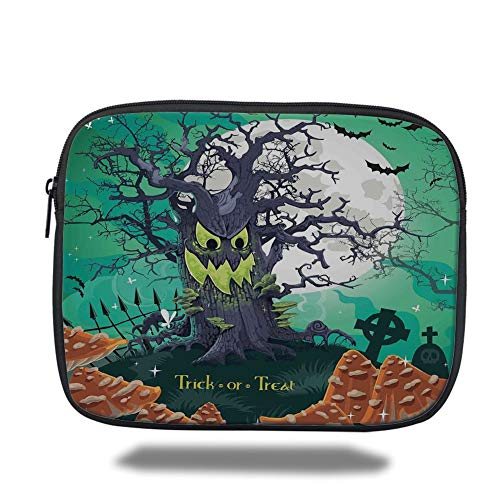 Tablet Bag for Ipad air 2/3/4/mini 9.7 inch,Halloween Decorations,Trick or Treat Dead Forest with Spooky Tree Graves Big Kids Cartoon Art,Multi,Bag