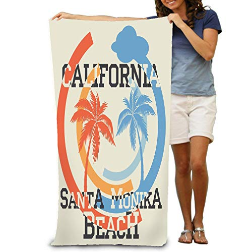 zixxoxxz Bath Towel Beach Towel Santa Monika California Beach Typography Sport Emblem Vintage Wear Print Design 31 * 51 inch