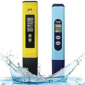 Monland Meter Prova Di Qualita' Dell'acqua, Ph-Metro TDS 2 In 1 Kit Con 0-14.00Ph E 0-9990 Ppm Gamma Di Misura Per La Coltura Idroponica, Acquari, Acqua Potabile, Ro, Piscina E Peschiera