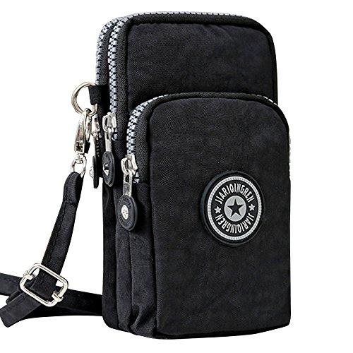Wocharm Ladies Girls Nylon Design Small Crossbody Shoulder Bag Wristlet Handbags (Black)