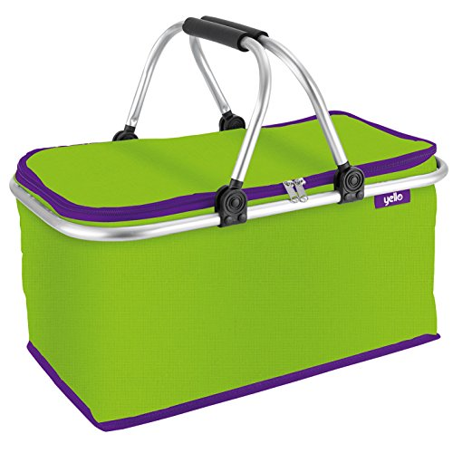 Yello Folding Picnic Camping Insulated Cooler Cool Panier Mixte, Green, 48 x 23 x 24 cm