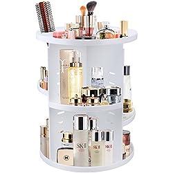 JTDEAL Organisateur de Cosmétiques, Rangement de Maquillage Rotatif à 360° avec 7 Étagère en Plastique pour de Ranger de Beauté, Maquillages, Parfums, Bijoux (Blanc)