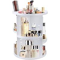 JTDEAL Rangement de Maquillage, Organisateur de Cosmétiques Rotatif à 360° avec Étagère en Plastique Boîte de Ranger de Beauté, Maquillages, Parfums, Bijoux etc pour Salle de Bain (Blanc)