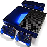 Xbox One Protective Vinly Skin Sticker Consola Decal Pegatinas + 2 Controlador & Kinect Skins Set (Glossy Blue)