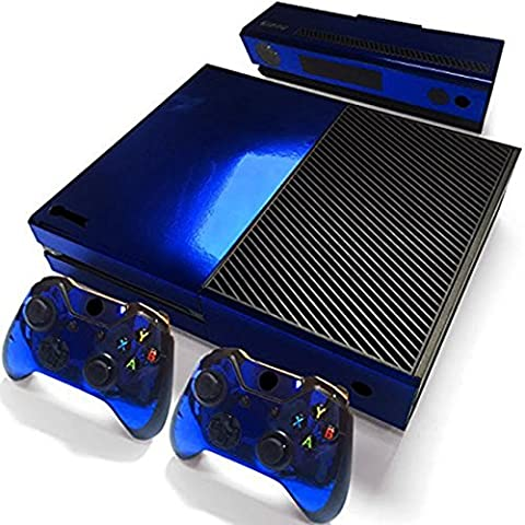 Glossy Blue Skin Vinyl Decal Full Body Faceplates Sticker For Xbox one console x 1 and controller x 2