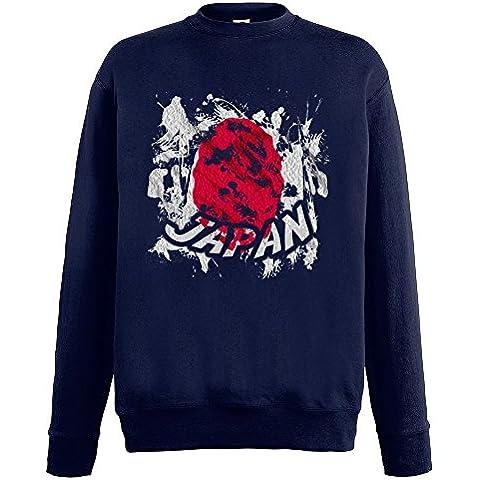 Bandiere Firmata Collezione 2, Fruit of the Loom Blu Notte Mens Sweatshirt Uomo Felpa Set-In Leggera con Design Colorato. Taglia S M L XL 2XL. - Vintage Firmata Giappone