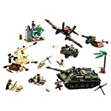 12che Kriegsminifigur Kit Hubschrauber, Panzer, Artillerie Minifiguren Set für Kinder - Mini Soldat Spielzeug