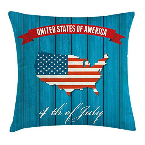 w Pillow Cushion Cover, United States of America Fourth of July Themed Icon on Wooden Background, Decorative Square Accent Pillow Case, 18 X 18 inches, Petrol Blue Red White ()