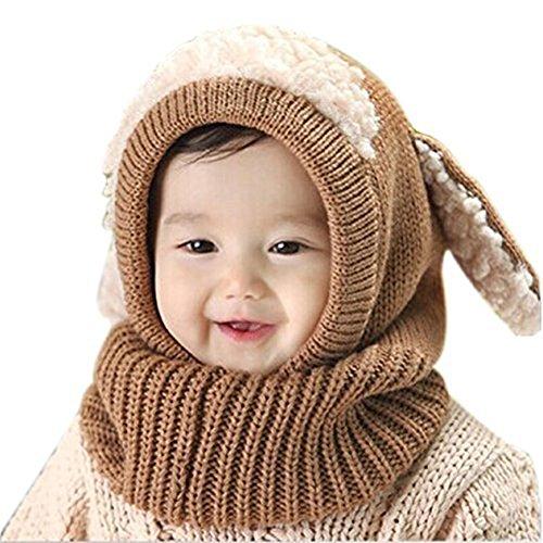 TININNA Chapeau/Bonnet Echarpe Gant Tricot Enfant Hiver Laine Chaud Enfant Bébé Casquettes BéBés Fille Garçon Chapeau Crochet Tour de tête Khaki
