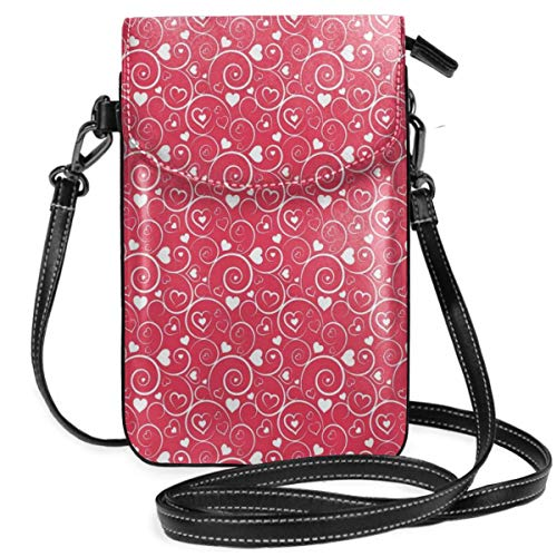 Jiger Women Small Cell Phone Purse Crossbody,Vibrant Colored Swirls Vortexes With Hearts Love Symbol Abstract Valentines Day -