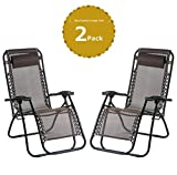 Leisure Zone® zero gravity chair Folding Reclining Chair Lounge Reclining Garden Patio Furniture Camping Chair Textoline Deck Chair … (Double, Brown)