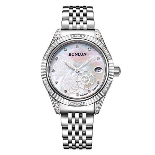 Binlun Damen Automatik Uhren Rose zweite Hand mit Wasserdicht Armbanduhr für Frauen