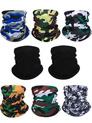 Blulu 8 Stücke Sommer Bandana Gesichtsmaske Sonnenschutz Nackenschutz Winddicht Kühlende Gesichtsmaske für den Außenbereich -