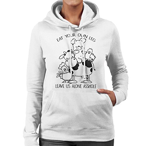 Eat Your Own Leg And Leave Us Alone Women's Hooded Sweatshirt white