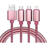 Cavo USB, 3 in 1 Lightning& Micro USB nylon intrecciato