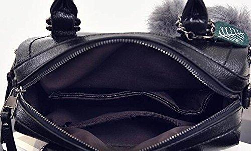 Damen Leder Schultertasche Elegante Mode Schultertasche Messenger Bag Handtasche Damen Schultertasche (schwarz) Black