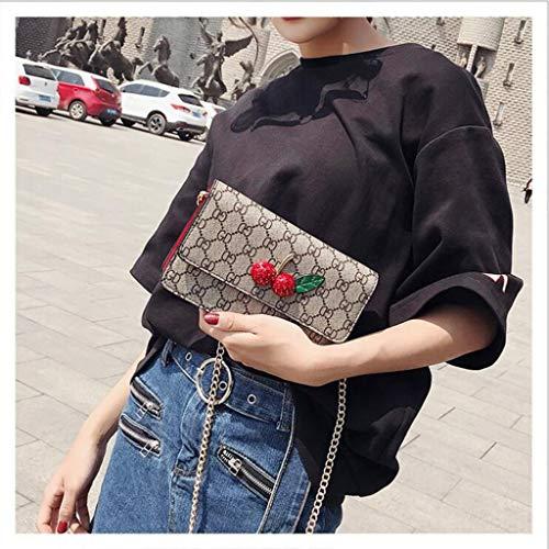 Y-H-X Umhängetasche damenKettenbeutel PU-Leder Umhängetasche Vintage Wilde Umhängetasche Kleine quadratische Tasche Weibliche Mode Handtasche,Red