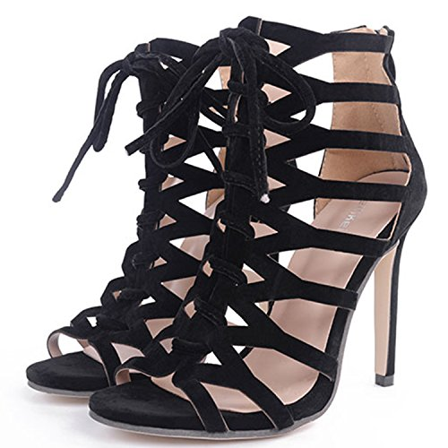 Oasap Women's Peep Toe Hollow out Lace up High Heels Sandals Apricot