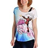 Deadpool Damen T-Shirt Unicorn Ride Loose Fit Marvel Weiß Blau - XXL