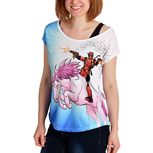 Deadpool Damen T-Shirt Unicorn Ride Loose Fit Marvel Weiß Blau - S