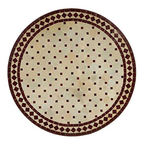 Mediterraner Gartentisch marokkanischer Mosaiktisch Ø 80 cm rund bordeaux terrakotta mit Gestell H 73 cm  Kunsthandwerk aus Marrakesch | Dekorativer Balkontisch Bistrotisch Beistelltisch  MT2092