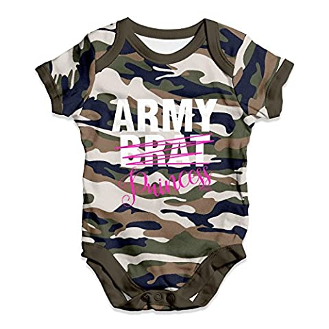Twisted Envy Baby Unisex Army Brat Princess Baby Grow Bodysuit 0 - 3 Months Camouflage