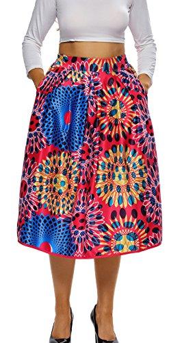 Lukis Damen A linien Röcke Retro Faltenrock Knielang Multicolor