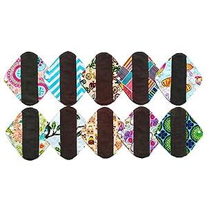 Wiederverwendbare, waschbare Holzkohle-Bambustuch, Menstruation-Pads, Slipeinlage, 10Stück, 20,3cm