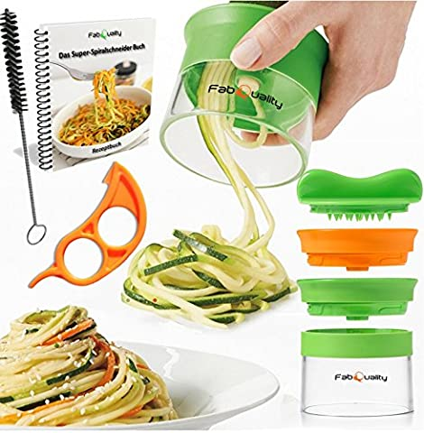 FabQuality No1 Best Seller Premium Vegetable Spiralizer Slicer (2 Blades) with bundle cookbook and contains the brush for cleaning - FabQuality courgettes, cucumbers, asparagus peeler Schneider, cucumbers peelers, carrots grater carrots peelers,