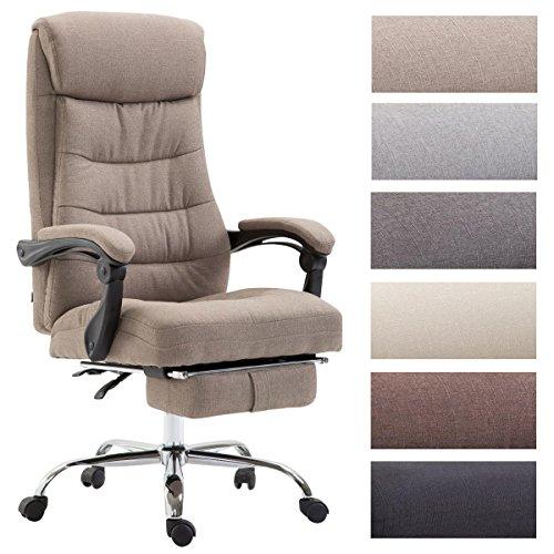Clp sedia ufficio hades in tessuto - poltrona studio ergonomica imbottita e con poggiapiedi - poltrona elegante girevole e reclinabile - sedia pc alto schienale - carico max 136 kg tortora