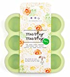 Mushy Mushy zur Aufbewahrung von Babynahrung - 9 leicht entfernbare Töpfchen - Perfekt zur Entwöhnung - BPA & BPS-freies - Gefriertablett aus Silikon mit Gratis Rezeptbuch (E-Book) - Lebenslange Garantie (Grun)