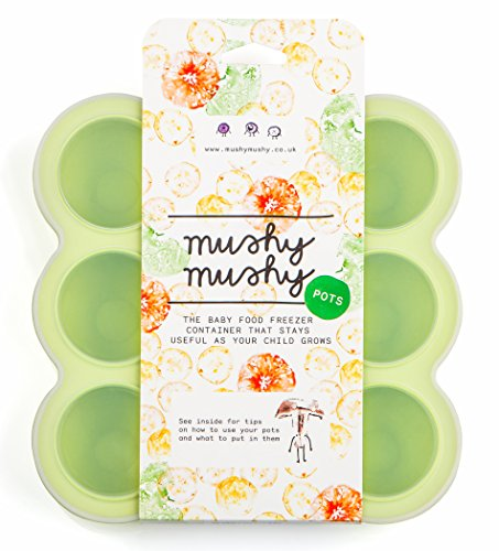Mushy Mushy Baby Food Storage - 9 Easy To Remove Pots - Durable Silicone Freezer Trays with Recipe eBook - Great Container for Weaning - Lifetime Guarantee (Green) Test