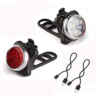 GoFriend® USB Rechargeable LED Cycling Bike Lights Set, Headlight Taillight Combinations LED Bicycle Light Set - Front and Rear Light, 650mah Lithium Battery, 2 USB Cables, 4 Light Modes by GoFriend