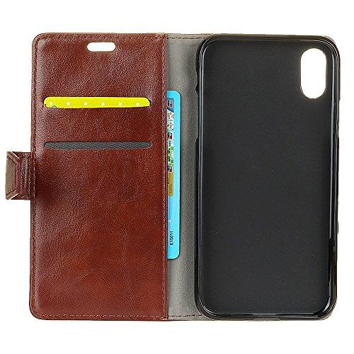 iPhone X Hülle, MOONMINI PU Leder Brieftasche Kartensteckplätze Handy Tasche Case Slim Fit Flip Bookstyle Lederhülle Schutzhülle mit Flip Stand Funktion und Magnetverschluss Handycover für iPhone XMag Braun