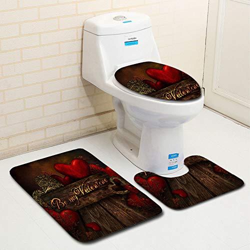 Zalock Teppich Badezimmermatte WC-Matte Weich Rutschfest Flexibel WC-Matte Einfaches Absorbieren Toilettenmatte Set für Dekorieren Sie Das Badezimmer -
