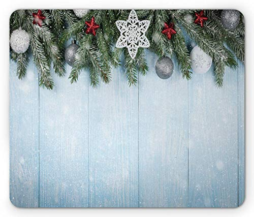 Fir Multi Color Christmas Tree (SHAQ Christmas Mouse Pad Mauspad, Coniferous Fir Tree with Ribbon Ball Ornaments and Oak Vertical Lines Display, Standard Size Rectangle Non-Slip Rubber Mousepad, Multicolor)