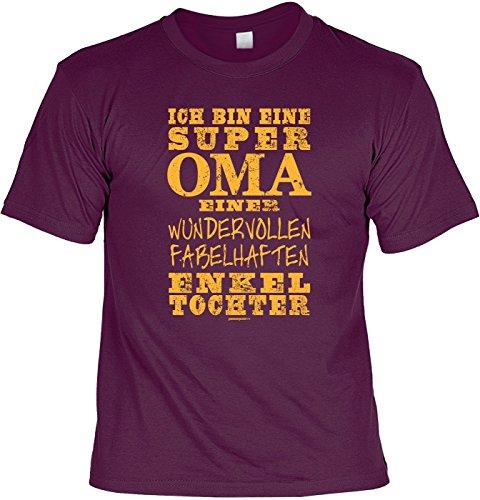 Fun T-Shirt mit lustigem Motiv - Super Oma einer fabelhaften Enkeltochter - Geschenk zum Geburtstag - bordeauxrot Bordeauxrot
