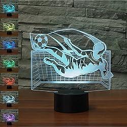 Fútbol Regalo de cumpleaños 3D Illusion Night Light al lado de la lámpara de mesa, Jawell 7 Cambio de color Touch Switch Lámparas de decoración Regalo de bebé con acrílico Flat & ABS Base y cable USB Theme Toy