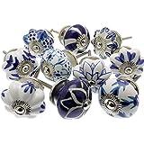 Mezclado Conjunto de Azul Y Blanco pomos de cerámica x piezas 10 (MG-203) 'Vintage-Chic' TM Producto